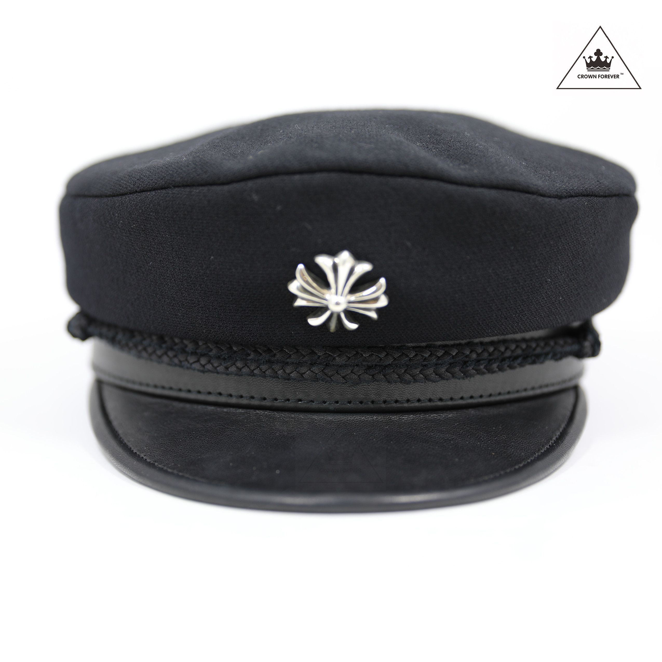 Exquisite Lambskin Chrome Hearts Stabbin Captain s Hat Features include  -  100% Wool Body - 100% Silk Lining - .925 Silver Cross on front - .925  Silver ... 817e4d64d10b