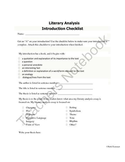 Introduction Checklist For Literary Analysis Essays From Educator
