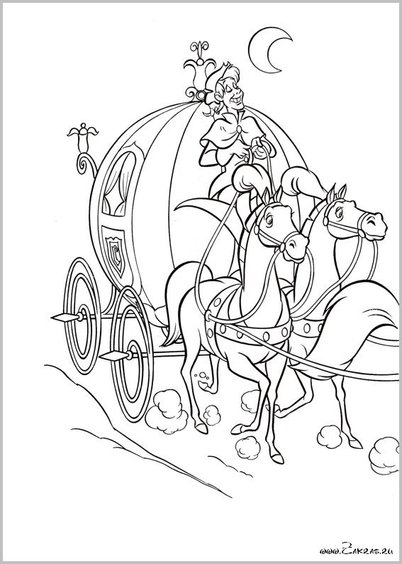 Kleurplaten Assepoester Koets.27 De Koets Met Zijn Trekpaarden Kleurplaten Disney En