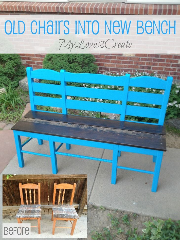 old chairs into new bench bench create and repurposed