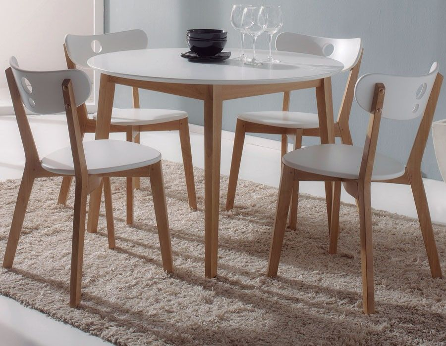 Ensemble table et chaise moderne blanc en bois NAPA Table moderne
