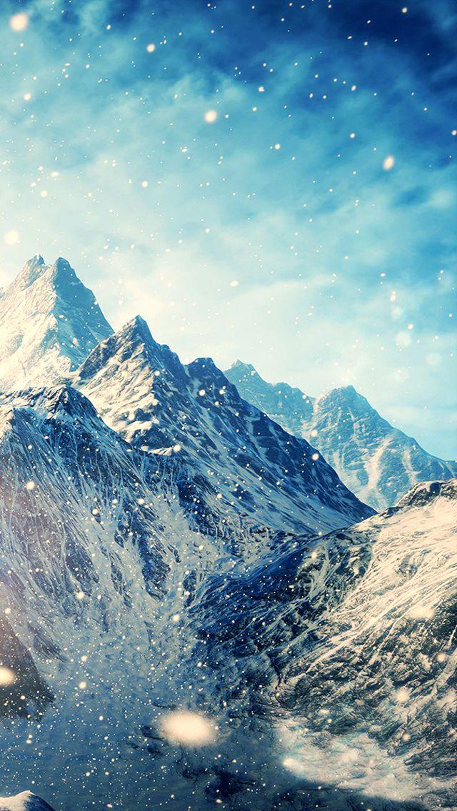 Magical Winter Snow Mountain Scene iPhone 5 Wallpaper