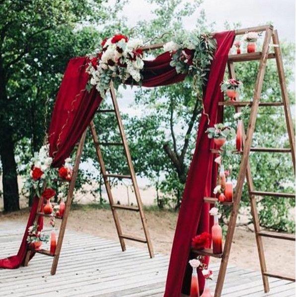Rustic Wedding Altar Ideas: Vases On Ladders In 2019