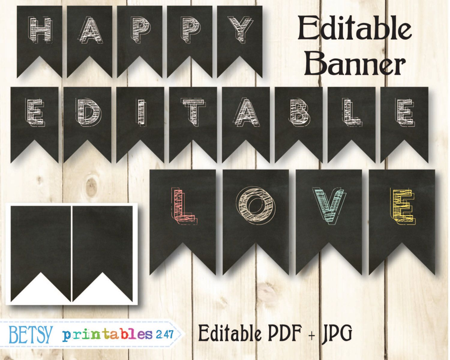 Chalkboard banner editable pennants happy birthday banner ...