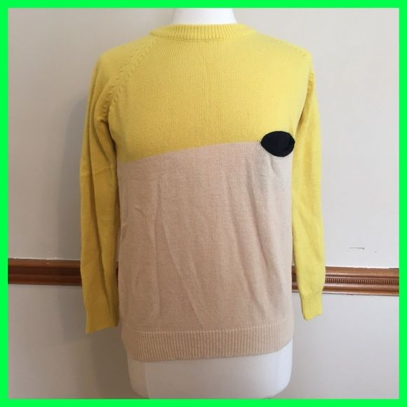 Anthropologie yellow colorblock pocket sweater Sofa Products by Anthropologie & Urban Outfitters. No size tag but would best fit a size medium imo. Anthropologie Sweaters Crew & Scoop Necks