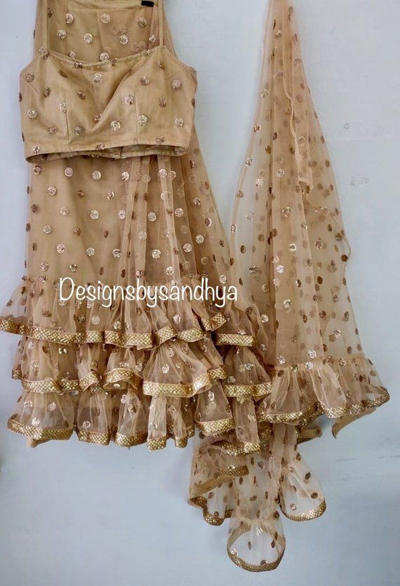 4cf2b0cd49 Golden beige heavy sequins frill ruffle saree ready to wear custom made  pleated skirt designer blou