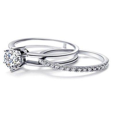 A very unique diamond bridal set featuring unique sliding wedding