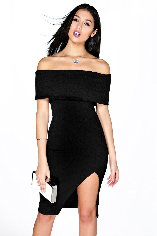 Side split midi dress black