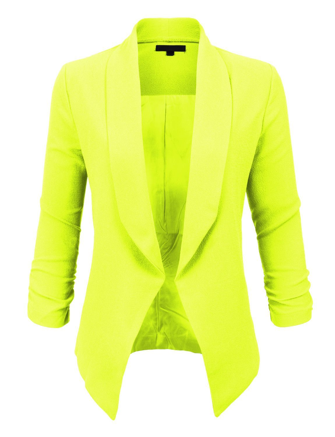 LE3NO Womens Textured 3/4 Sleeve Open Blazer Jacket