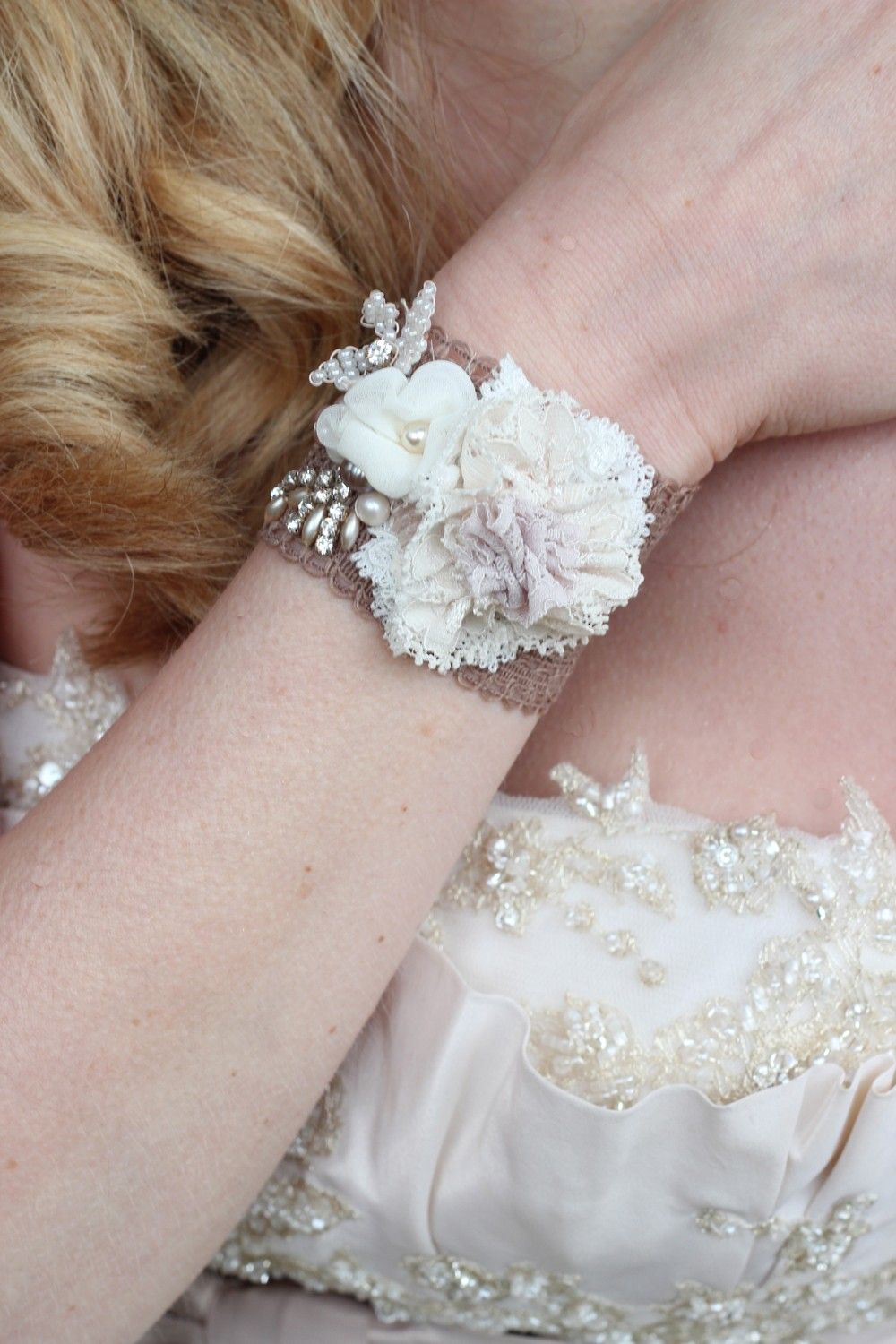 Vintage wedding bridal cuff bracelet cream lace corsage flower