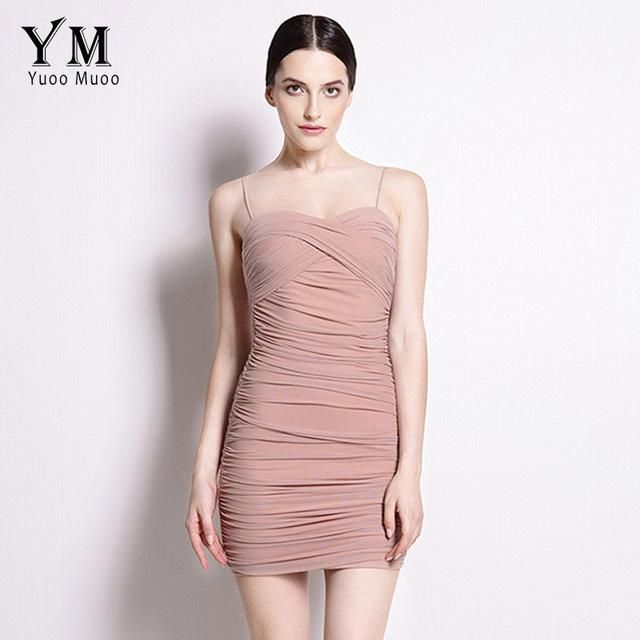 2716aa7390969 YuooMuoo Bodycon Dress Women Little Black Dress Spaghetti Strap Club ...