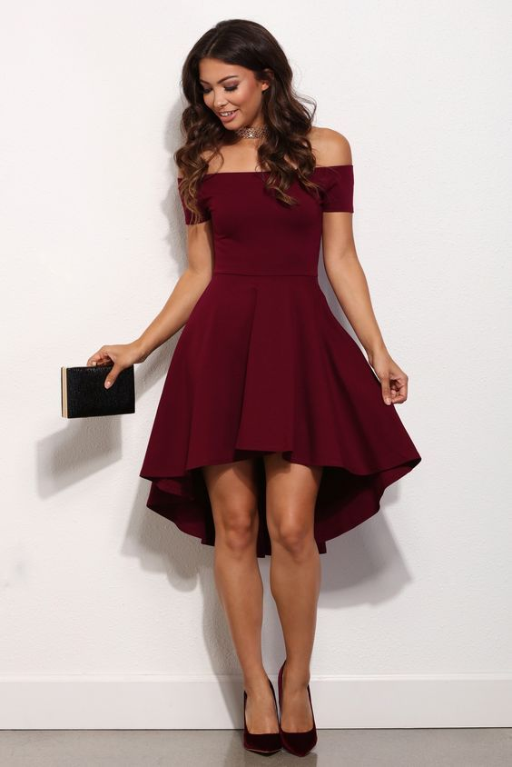 High low party dresses, Maroon homecoming dresses off