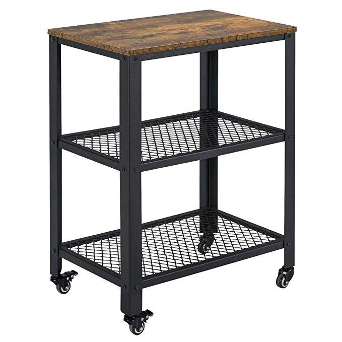 amazon  yaheetech serving cart with storage shelf 3