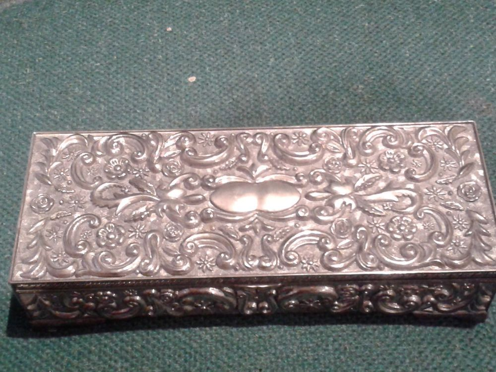 Vintage Ornate Godinger Silver Plated Jewelry Box Gray Interior