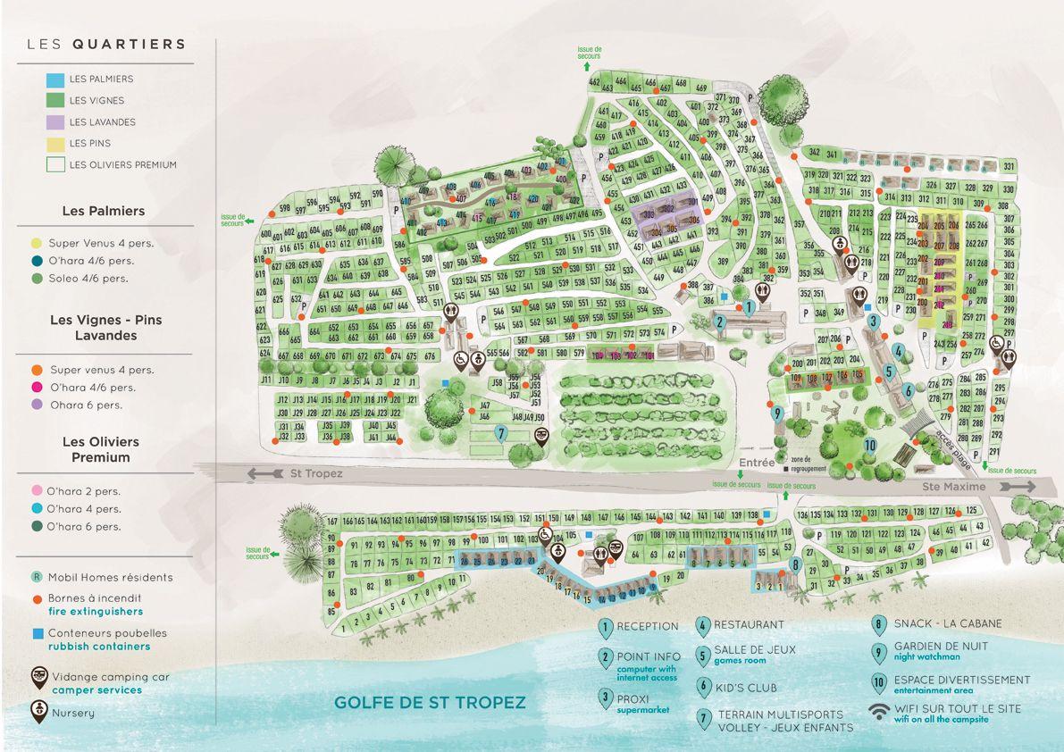 Der plan camping des m res port grimaud var 4 toiles - Camping prairie de la mer port grimaud ...