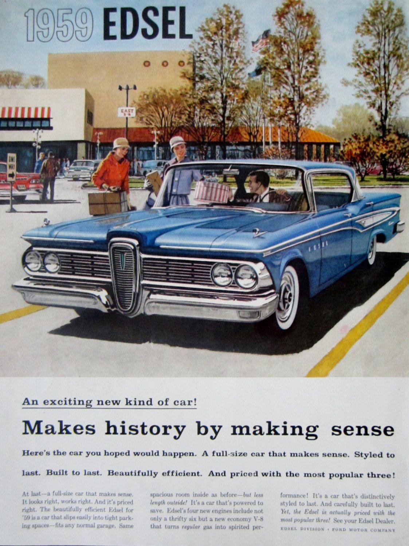 1958 59 Ford Edsel Vintage Advertisement Automotive Wall Art Man Cave Decor Classic Car Print Original Magazine Edsel Automobile Advertising Ford Classic Cars