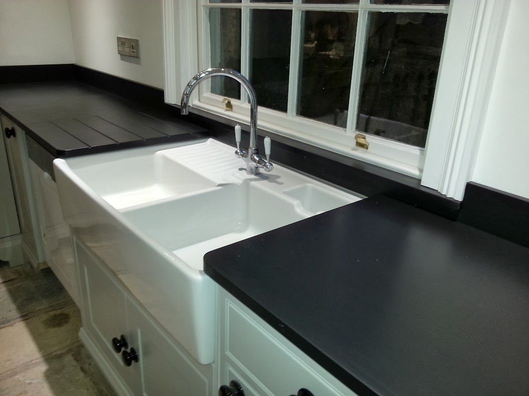 Italian Black Slate And Carrara Worktops Leamington Spa Kitchen