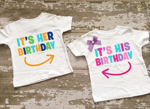 Its Her Birthday Twin Boy Girl Shirt Set