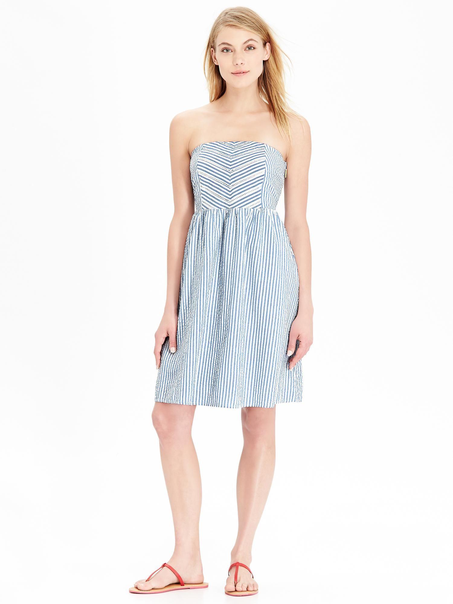 Old Navy Women S Striped Strapless Seersucker Dresses My Dream