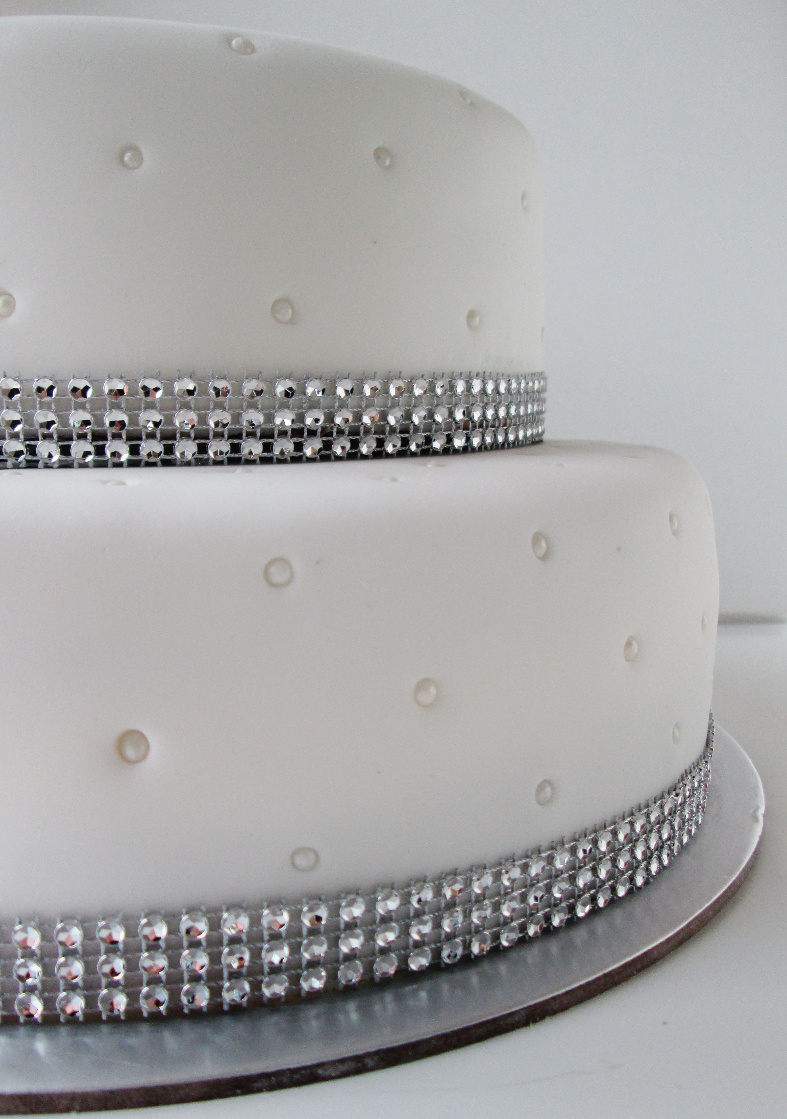 Diamond And Pearl 2 Tier Cake Wedding Anniversary Bling