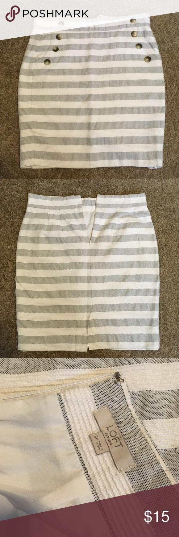 Gray Youth Group Rooms: Striped Loft Side Pocket Skirt. Size 8P Striped Loft Skirt