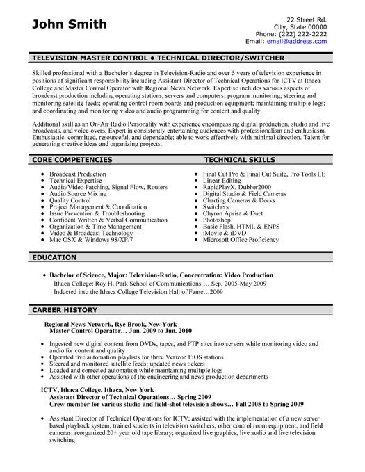 Click Here To Download This Television Master Controller Resume
