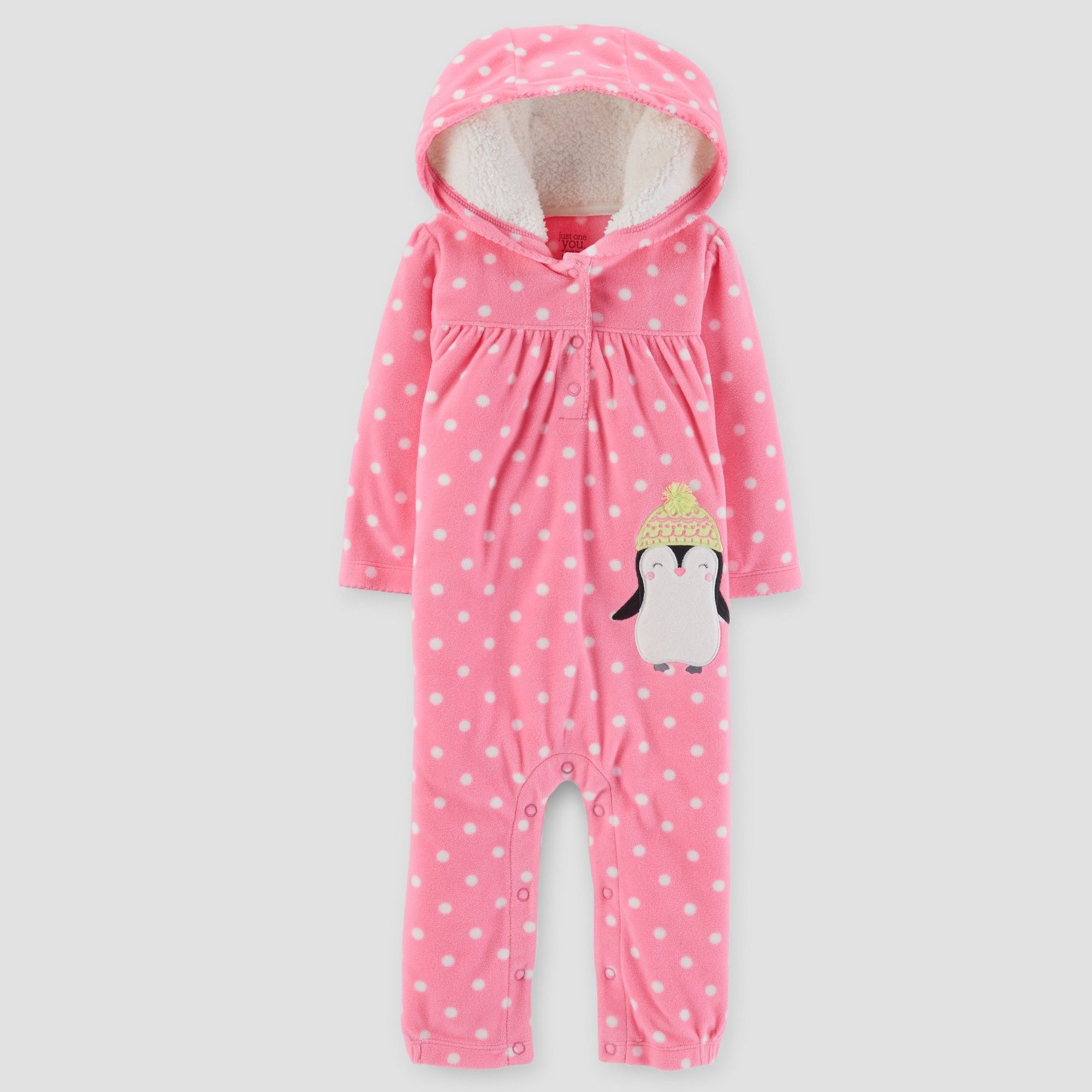 cc66df57dcfb Baby Girls  Penguin Fleece Hooded Jumpsuit - Just One You Made by ...