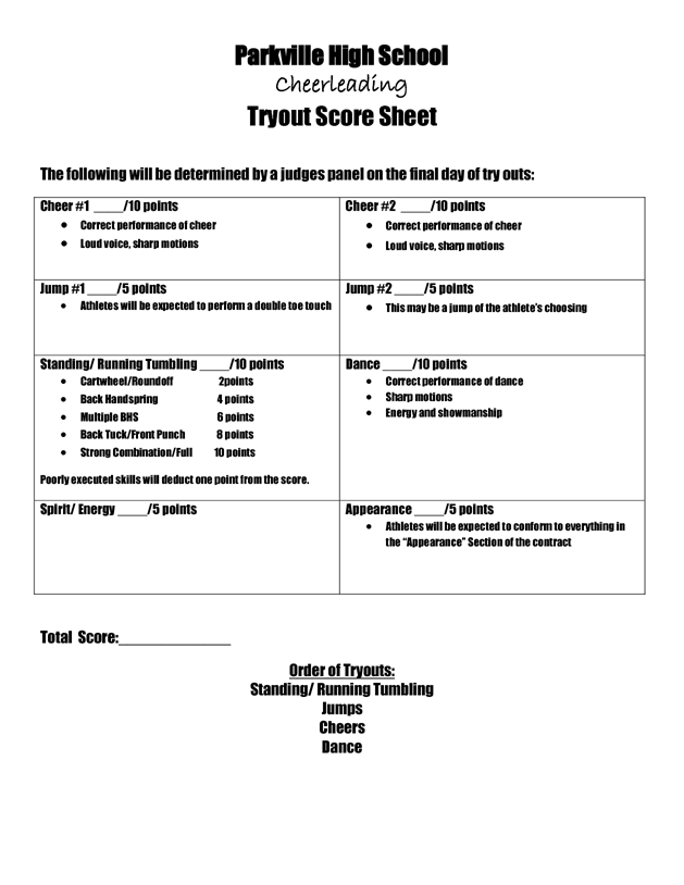 Tryout Score Sheets Cheer Pinterest – Cheerleading Tryout Score Sheet
