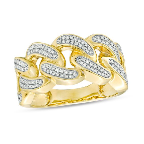 1 3 Ct T W Diamond Chain Link Ring In 10k Gold Piercing Pagoda In 2020 Chain Linked Rings Linking Rings Diamond Chain