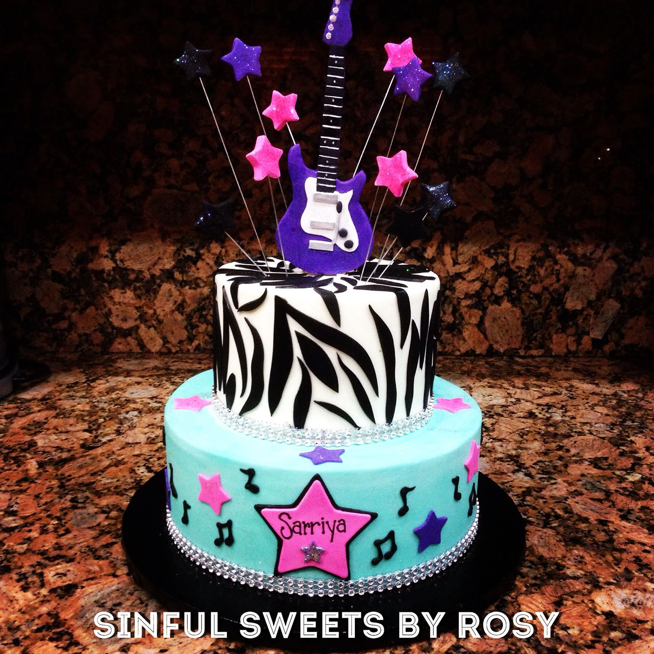 Amazing Buttercream Rock Star Cake With Fondant Guitar Topper With Images Funny Birthday Cards Online Kookostrdamsfinfo