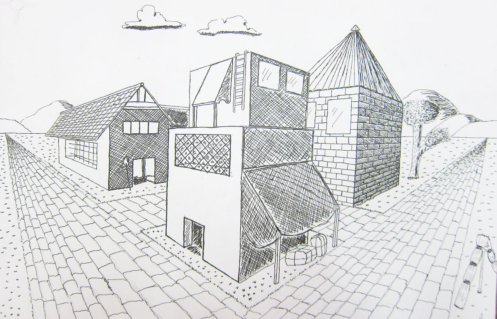 Perspective Drawings Of Buildings upper school art (grades 7-12): two point perspective building