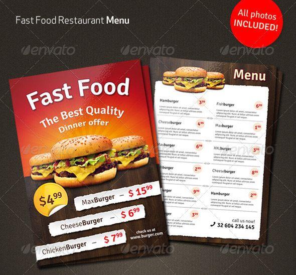 Fast Food Menu Flyer MAV Pinterest Food menu, Food menu