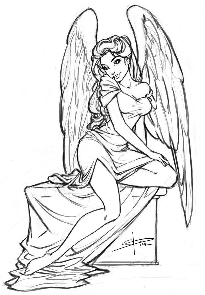 Angel Sketch By Sabinerich Deviantart Com On Deviantart Sexy