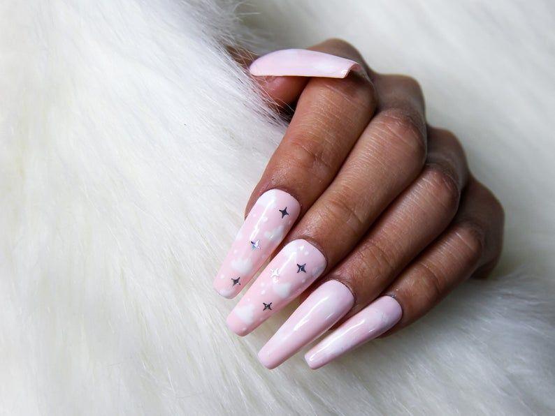 Daydreamer Pink W White Clouds Nail Art Press On Nails Etsy In 2020 Press On Nails Glue On Nails Nail Kit