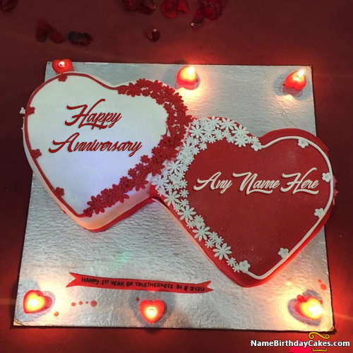 Romantic Happy Anniversary Cake With Name Anniversary Cake With