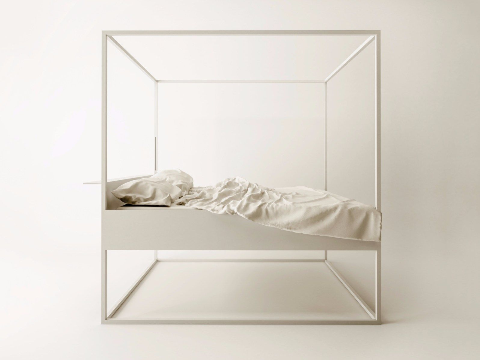 Cama de metal revestido con dosel BED LED by FILODESIGN di Michela ...