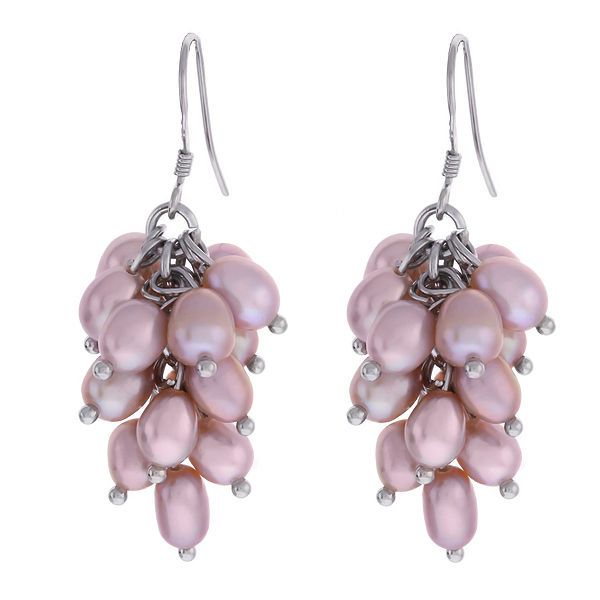 20% Additional Off this 925 Sterling Silver Genuine Lavender Freshwater Pearl Dangle Earrings