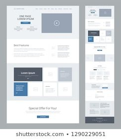One Page Website Design Template Business Stock Vector (Royalty Free) 1090538330