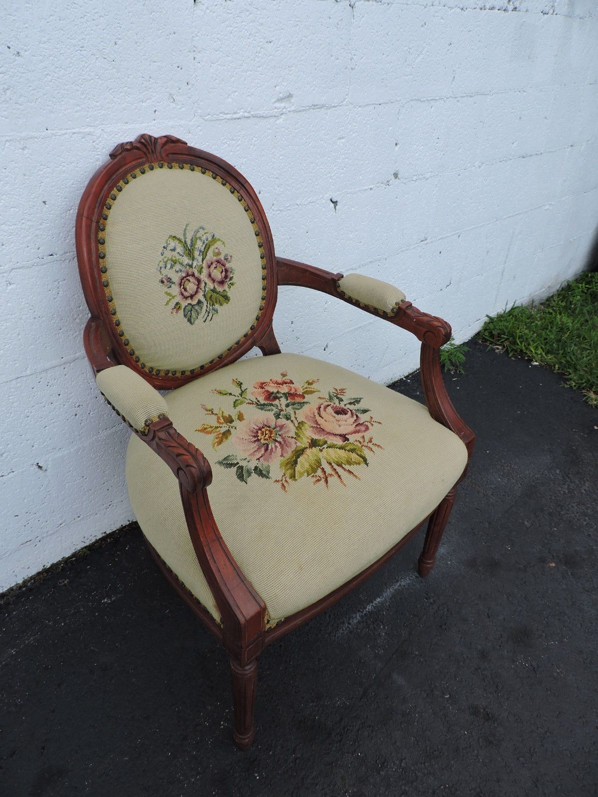 French Carved Living Room Needlepoint Tapestry Side Chair 7139 | eBay