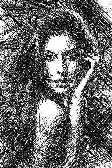 Woman Sketch in Black and White by Rafael Salazar Artist from #Colombia Digital…