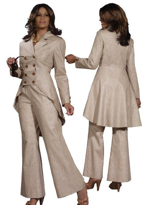 Amazon.com: Classy Ladies Linen Blend Pant Suit in Taupe from ...
