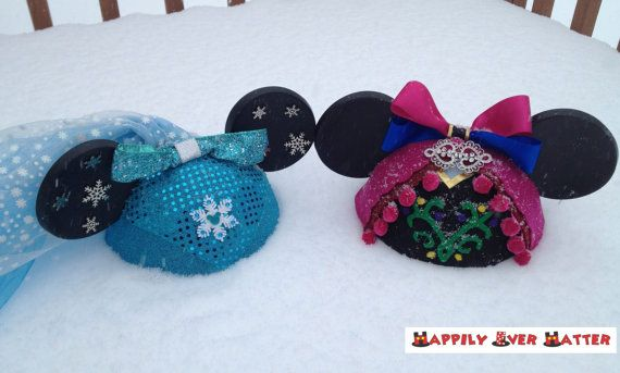 Anna and Elsa Frozen Inspired Ear Hats- Set of Two Mickey ear hats