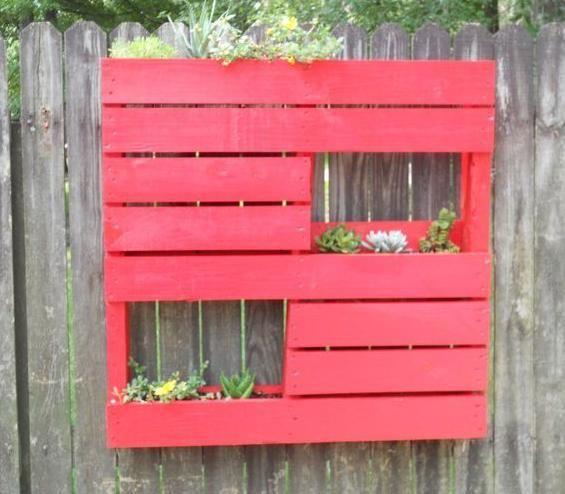 jardinera palets roja - Jardineras Con Palets
