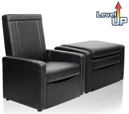 Convertible 3 In 1 Ottoman Chair Black Leather Finish Club Chair With Storage Converts To Ottoman Home Theater Storage Chair Chair And Ottoman Chair Storage