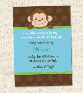 Monkey Baby Shower Invitations By Lollipopprints On Etsy 10 00