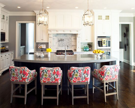 Cool Upholstered Bar Stools Transitional Kitchen Design With Colorful Floral Pattern Upholstered Bar Stools With Back Home Kitchen Inspirations Home Kitchens