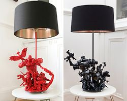 Action figures immortalized in artsy lamps