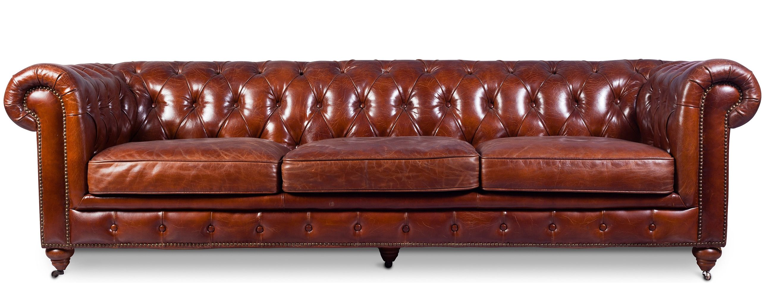 Canap 4 places cuir marron clair chesterfield lower canap cuir vintage pinterest canap for Canape 4 place