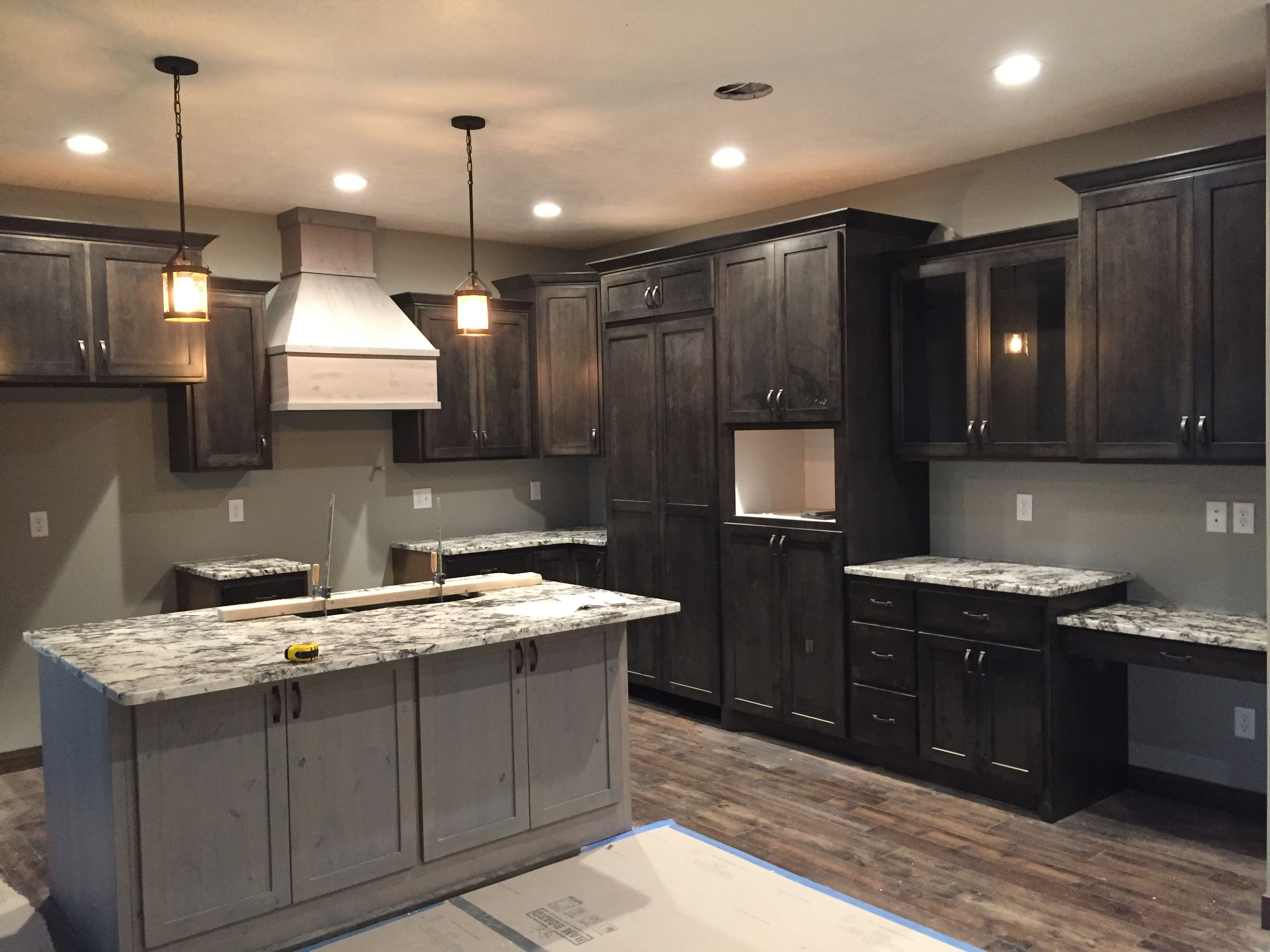 Dark Cabinets With Light Island And Hood Kitchen Dark Kitchen Kitchen Cabinets