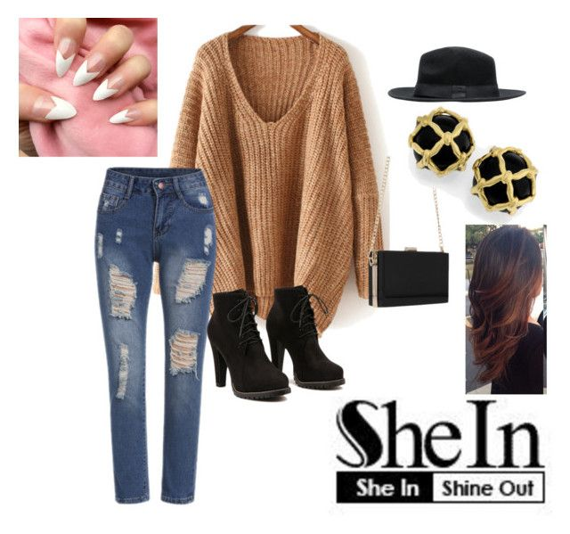 """""""~ Shein: V neck Sweater"""" by moniquedawson09123 ❤ liked on Polyvore featuring moda"""